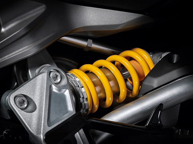 Rear shock is fully-adjustable.