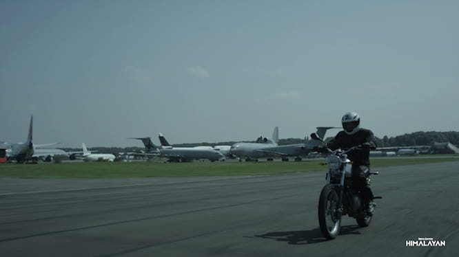 The bike being tested in the UK, at Bruntingthorpe