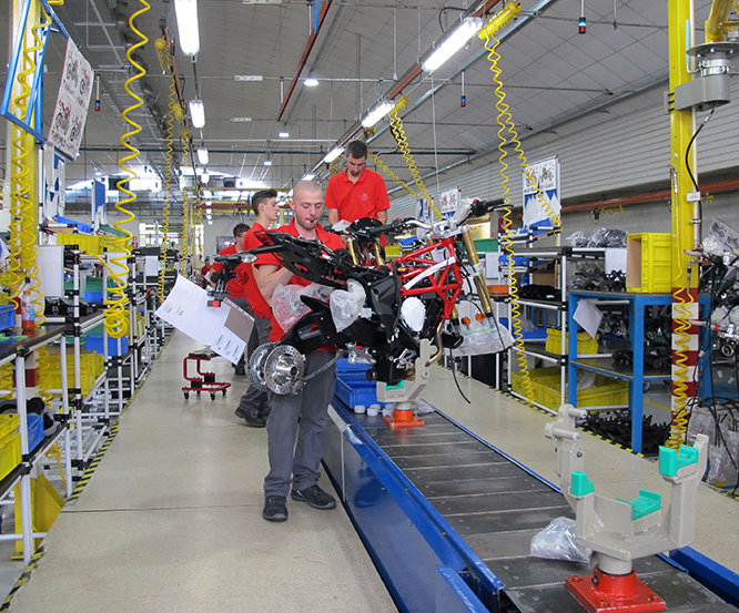 The MV production line, the company has ambitions to produce 10,000 bikes per year
