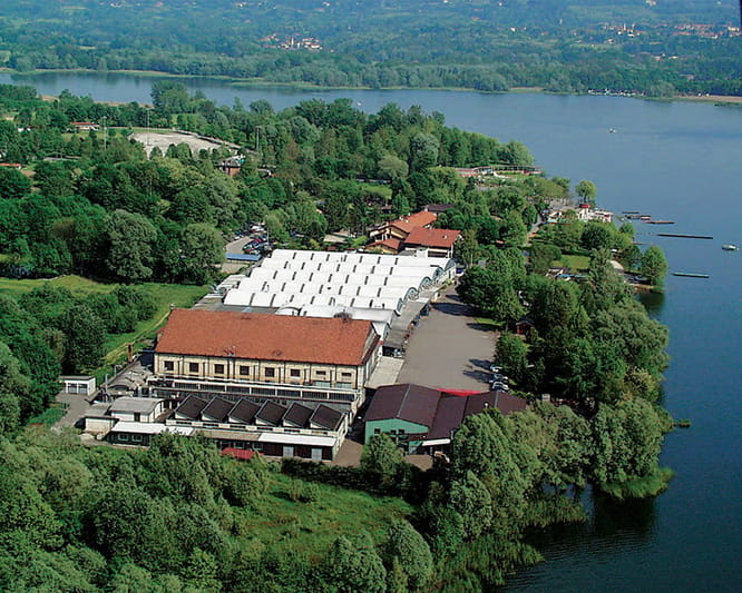 MV Agusta factory located on the banks of Lake Varese