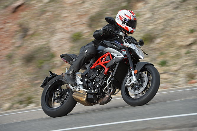 The half-supersports, half-supernaked Brutale 800 powers through the Spanish mountain roads