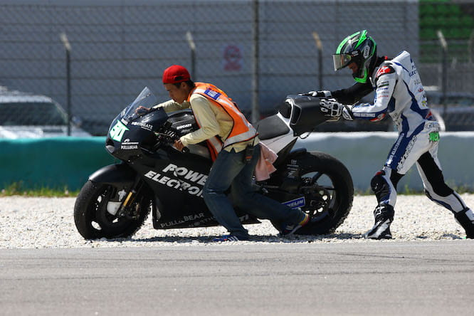 Laverty jumped off the bike the first time, but wasn't so lucky later