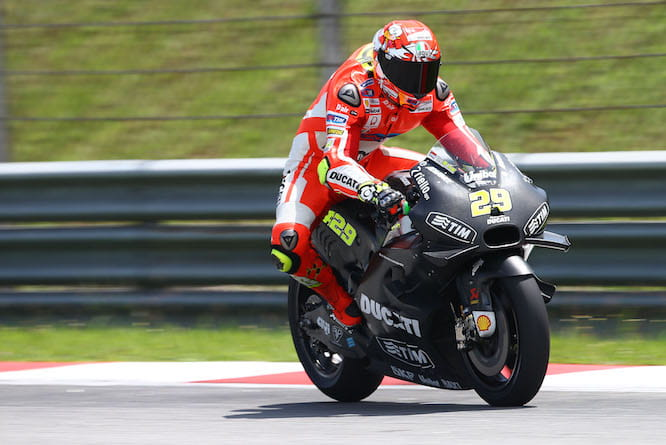 Andrea Iannone aboard the GP16, or Desmo GP