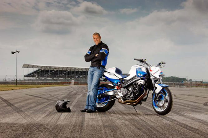 Mattie Griffin with his modified BMW F800R