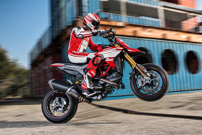 Hypermotard SP loves this kind of stuff, on a private road of course. Ducati test rider pictured.