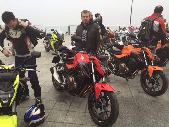 Bike Social's Oli Rushby gets ready to ride the CB500F.