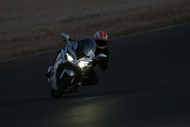 Efficient Adaptable Cornering Lights demonstrated in the dark on the Almeria circuit