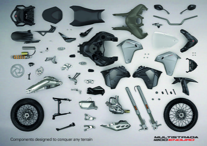 Take one Ducati Multistrada, kick a load of parts off it and fit the following and you've got a Multistrada 1200 Enduro.