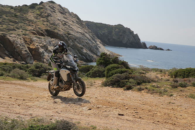 Ducati's test rider encouraged Bike Social's Potter to use the full 160bhp off-road