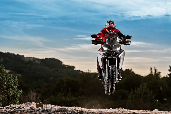Oh yeah! Ducati Multistrada Enduro 1200 lets loose. Ducati's test rider is pictured, we wouldn't be so irresponsible...yeah right...