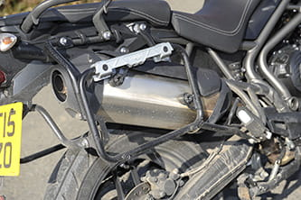 Side exhaust is hidden by standard-fit pannier holders