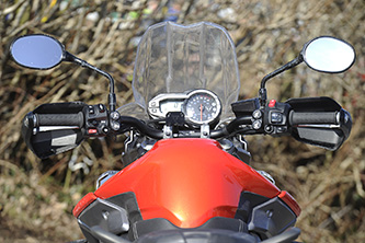 Easy to spot Triumph's additional heated seats, heated grips and fog lights buttons