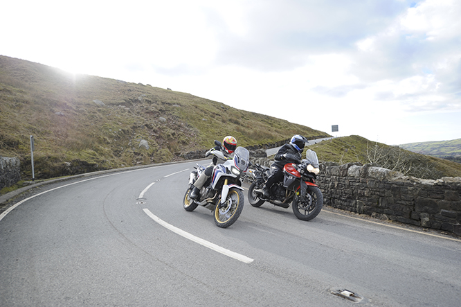 Honda and Triumph go head-to-head on the Welsh roads