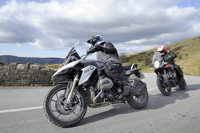 A GS on knobbly tyres isn't massively conducive to grip on a cool, flat surface