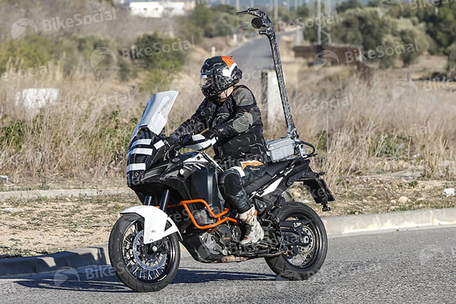 If ever a spy shot should double up as a caption competition, it's this, the 2017 KTM 1290 Super Adventure undergoing aero and noise testing