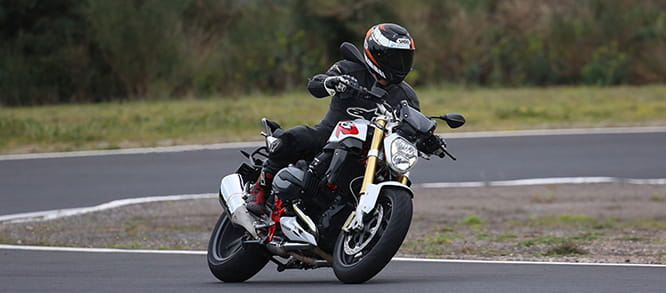 BMW R1200 R with the RoadSmart III's on the Dunlop test track in France