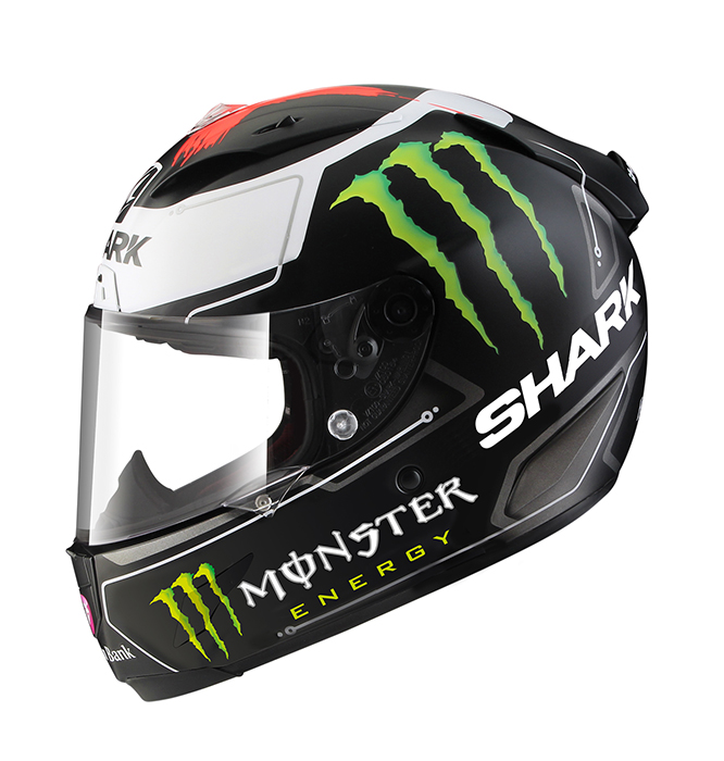 As seen on a World Championship winning Yamaha; Lorenzo's new SHARK rep