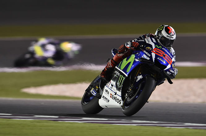 Jorge Lorenzo in his new Shark helmet on his way to victory in Qatar