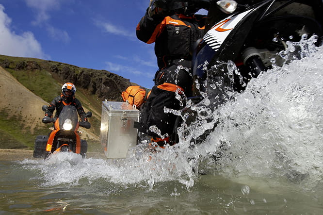 2009 KTM 990 Adventure goes for a swim