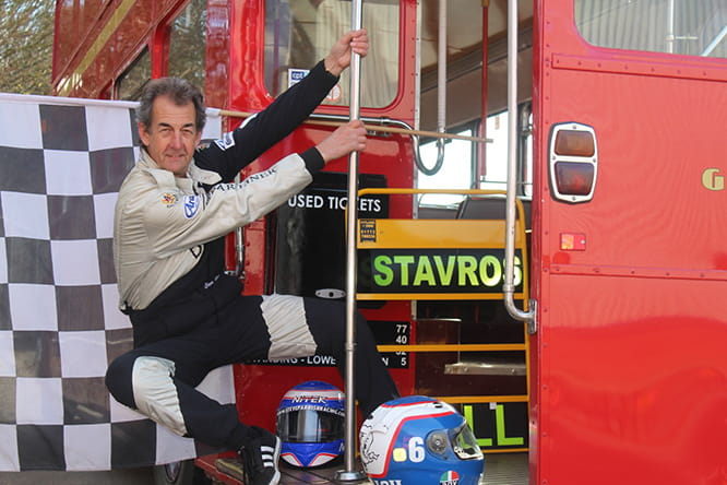 Barry Sheene's former teammate at Suzuki, Steve Parrish now gets his thrills by hanging out of a routemaster
