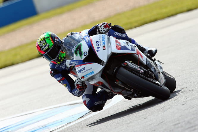Laverty en route to setting the fastest time at Silverstone