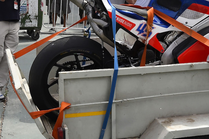 Redding's tyre stripped to its carcass