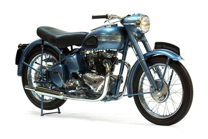 Over-bored 650cc version of the 500cc Speed Twin in 1949, later to become the Triumph Thunderbird
