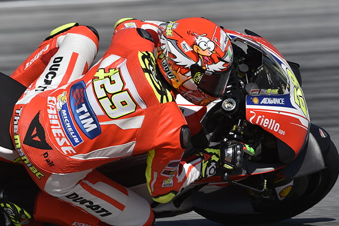 Andrea Iannone sporting his seagull crash helmet