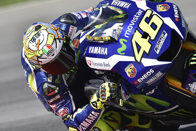 Valentino Rossi at the Sepang Winter Test with Snowman helmet design