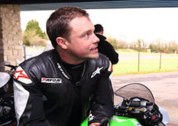 Tyre Tester, Rich Dobson, just before heading out on the Kawasaki ZX-10R test machine