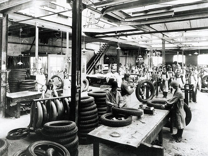 The inside of the factory looks quite different nowadays but it is the same building where Avon have been making tyres for 112 years.