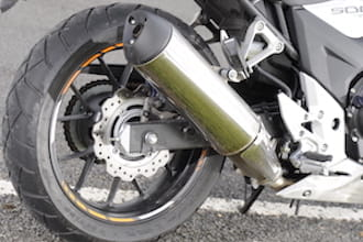The CB500X's exhaust