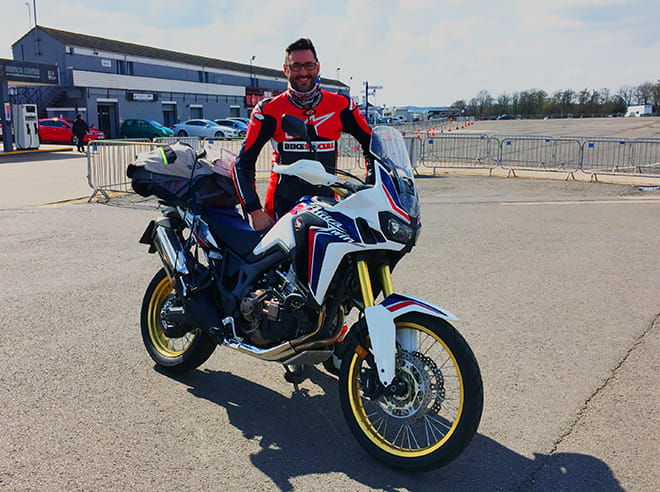 Bike Social's Potter at Donington Park with the long-term test Africa Twin DCT.