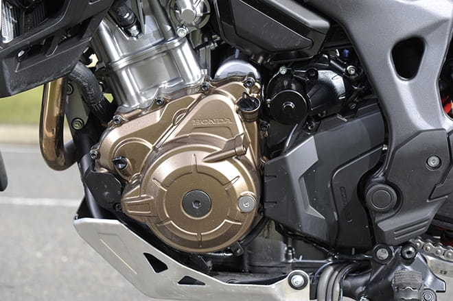 The Africa Twin's DCT motor and the DCT gearbox.