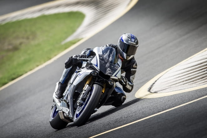 Yamaha's test rider pushes the R1M at Eastern Creek in Australia