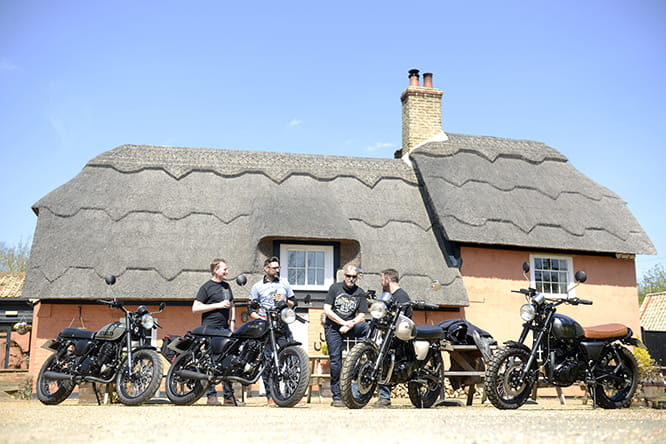 Sun's out, guns out? Potter and some of the Herald team take a ride on the range of modified 250s.