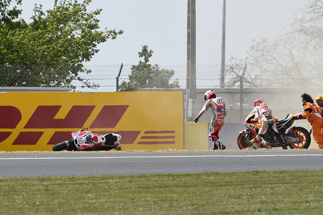 Dovizioso and Marquez were two of seven crashers