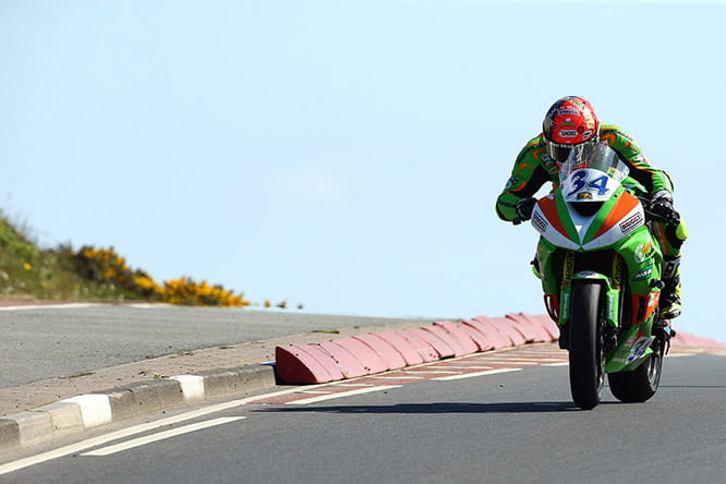 Seeley en route to victory in the supersport race