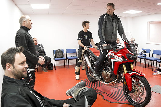 Get used to the size and weight of the bike as well as off-road riding position in the confines of the classroom