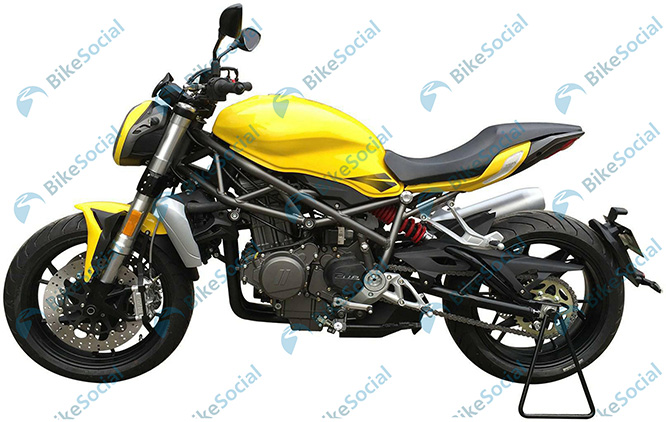These are leaked images of a prototype but they are showing a Ducati Monster/Suzuki SV650 rival in terms of styling