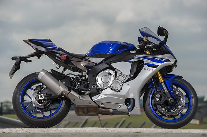 Yamaha YZF-R1. The red Silverstone track day GPS recorder kind of ruins the look