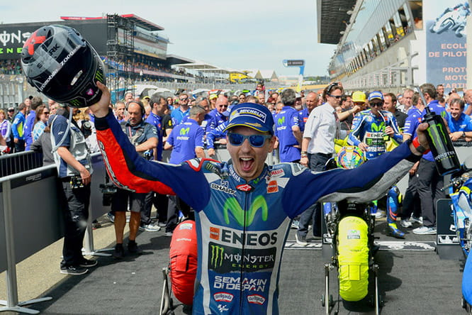 Jorge Lorenzo celebrates his victory at the French MotoGP last time out at Le Mans
