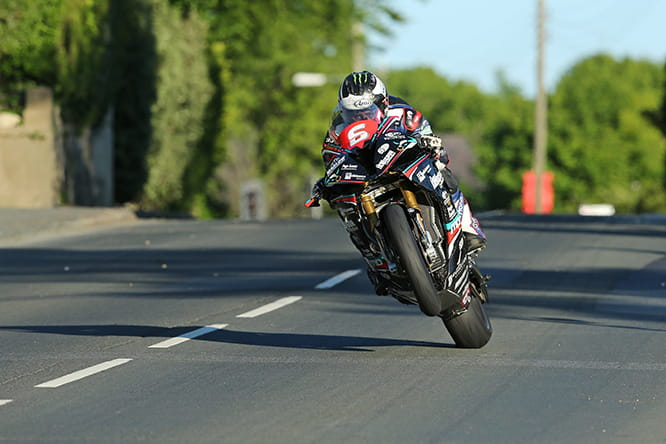 Michael Dunlop on one wheel at Ballagery during Wednesday practice for the Isle of Man TT