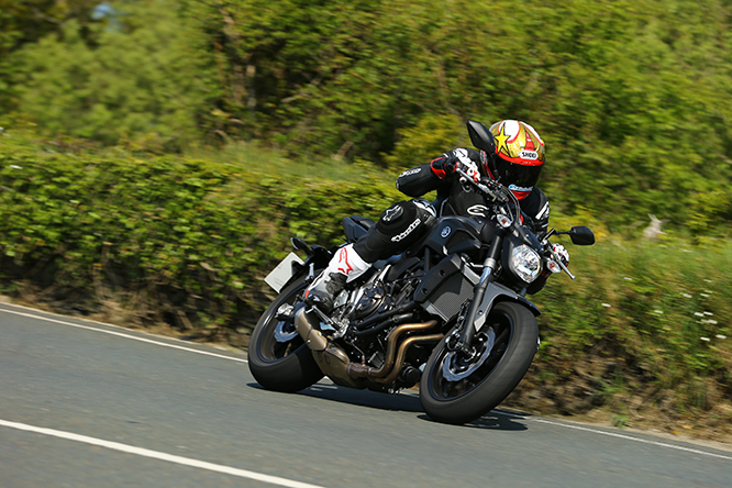 Potter heads to the Gooseneck on the Yamaha MT-07