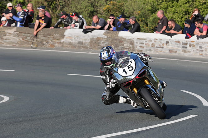 David Johnson on the Norton SG5 on Thursday night in practice
