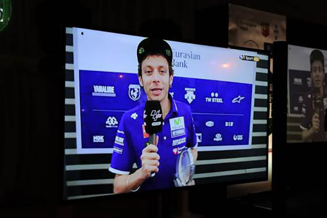 Valentino Rossi speaks via satellite from the Catalunyan Grand Prix