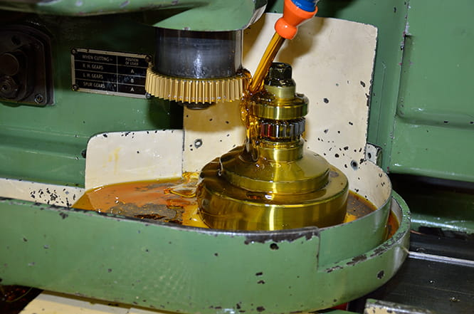 Gear teeth being cut on a Drummond gear shaper.