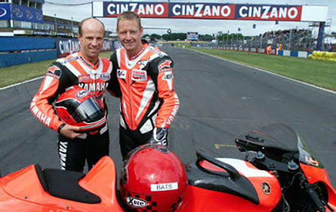 David Batty rode pillion with Randy Mamola on the two-seat GP bike