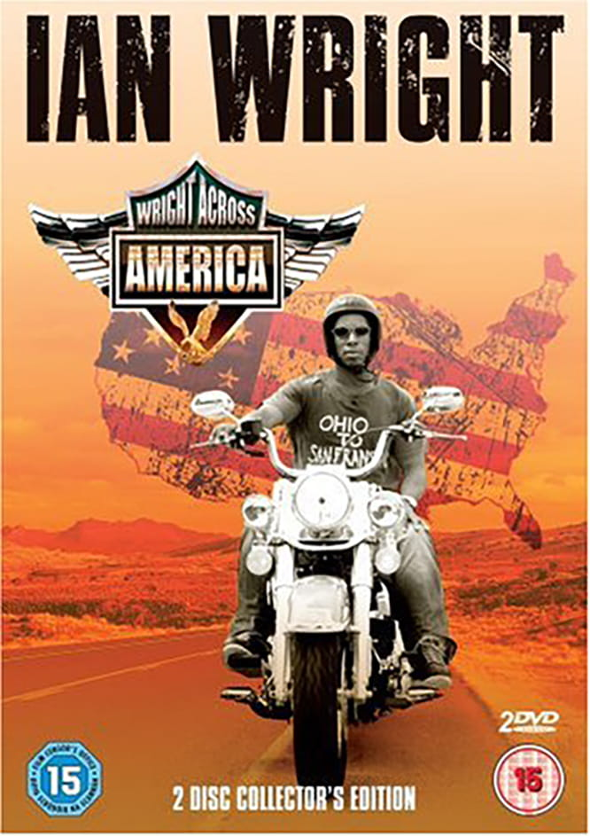 As the title suggest, Wright went across America on a Harley