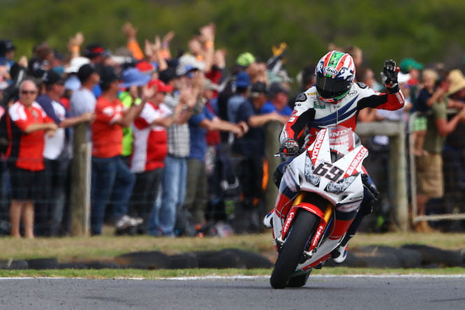 Nicky Hayden celebrated 4th place at Philip Island at the beginning of the 2016 WSB season
